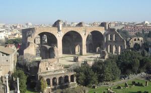 Bazilika (trosky) na forum romanum v Římě.