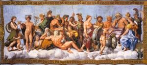 Koncil bohů (obraz od Rafaela Santiho, 1518-1519) - klasická ukázka polyteistického náboženství