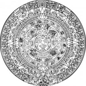 Aztécký roční kalendář (365 dní) zvaný Xiuhpohualli