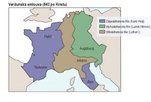 Rozdělení franské říše na tři části - Západofranská říše, Východofranská říše a Lotharingie.