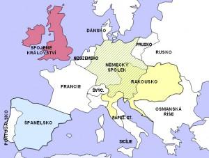 Evropa v r. 1815 – zjednodušená mapka (šrafované území Německého spolku)
