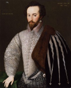 Sir Walter Raleigh (1554? - 1618) se svým mottem Amore et Virtute (Láska a ctnost)