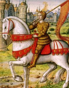 Johanka z Arku jedoucí na koni (ilustrace z manuskriptu roku 1505)