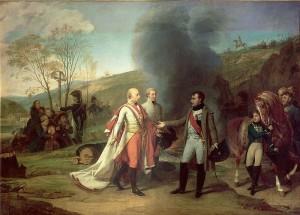 Setkání Napoleona a Františka I. u Spáleného mlýna 4. 12. 1806 (po bitvě u Slavkova) (Antoine-Jean Gros)