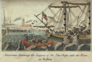 """Američané vyhazují čaj z lodí do moře (""""Bostonské pití čaje"""") (W. D. Cooper, 1789)"""