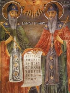 Konstantin a Metoděj držící písmo, které na Velkou Moravu přinesli (obraz: Zahari Zograf)