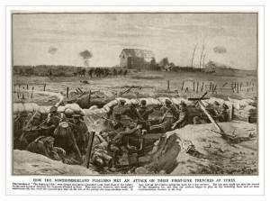 Střelci z Notrhumberlandu v zákopech pod německým útokem u Ypru 1914