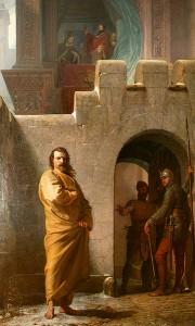 Císař Jindřich IV. před Canossou, kde strávil tři dny pokáním před hradbami podle pokynů papeže Řehoře VII.