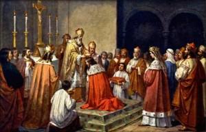 Opat Božetěch dává korunu králi Vratislavovi (obraz: Josef Mathauser)