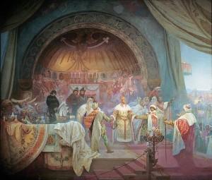 Přemysl Otakar II. (1233 - 26. 8. 1278), král železný a zlatý (obraz: Alfons Mucha)