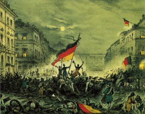 Oslavující revolucionáři v Berlíně 19. března 1848