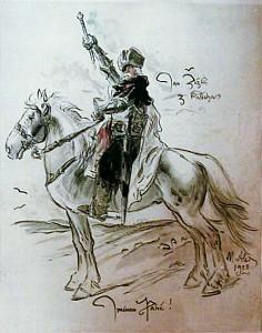 Jan Žižka na vyobrazení od Mikoláše Alše (dává Žižkovi přídomek z Kalicha)