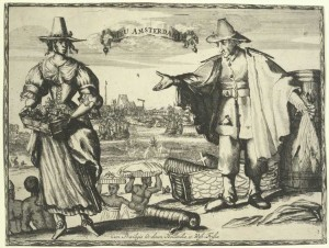 Nizozemský obchodník s tabákovými listy v ruce (vpravo); v přední části silueta Nový Amsterdam