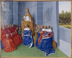 Papež Urban II. káže první křižové výpravě za přítomnosti Filipa I. (ilustrace z Velké francouzské kroniky, autor Jean Fouquet)