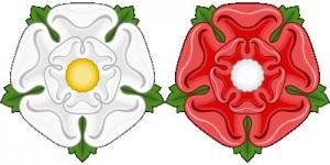 Znaky rodů války růží (bílá = Yorkové, červená = Lancasteři)