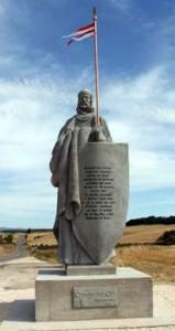 El Cid Campeador (Rodrígo Díaz de Vívar) v počátku reconquisty dobyl Valencii a stal se španělským hrdinou (socha Ángel Gil Cuevas)