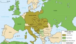 Vojenská spojenectví evropských států v roce 1914/na počátku války