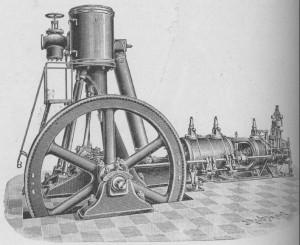 Parní stroj (obrázek z publikace od J. Janovského 1904)