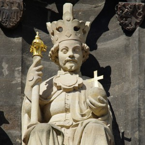 Václav IV. (26. února 1361 – 16. srpna 1419) - socha na Staroměstské mostecké věži (Petr Parléř)