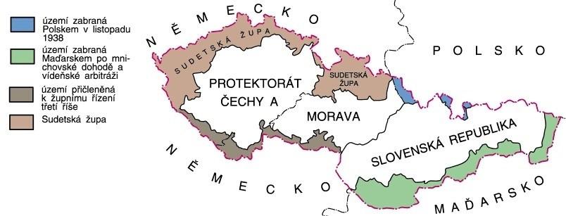 Protektorát Čechy a Morava, Slovenská republika (zdroj mapy: www.valka.host.sk)