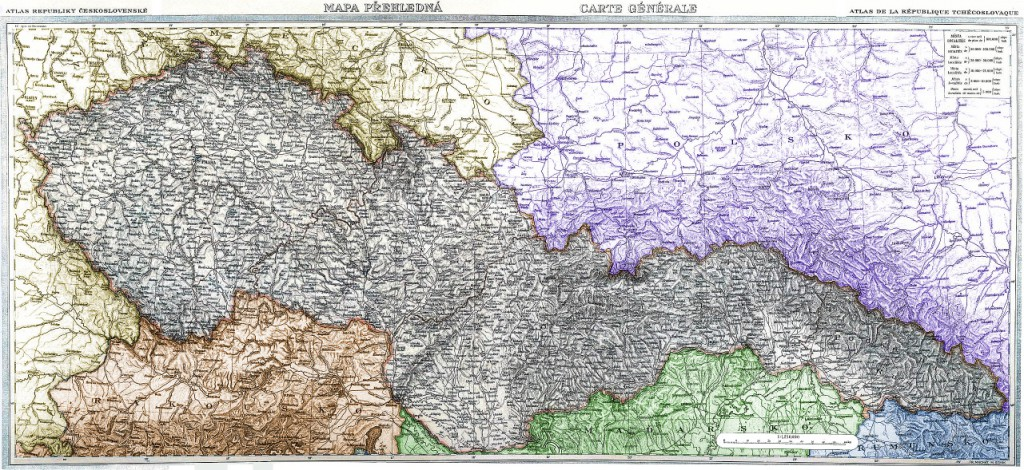 Mapa Československa  sousední státy: žlutá – Německo, cihlová – Rakousko, zelená – Maďarsko, modrá – Rumunsko, fialová – Polsko