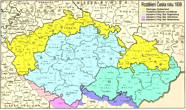 Mapa rozdělení Česka v letech 1938 – 1939