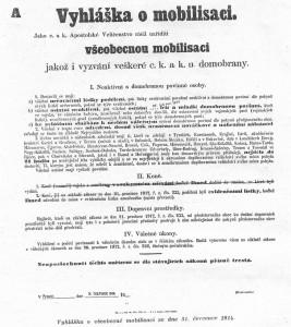 Vyhláška o všeobecné mobilizaci ze dne 31. 7. 1914