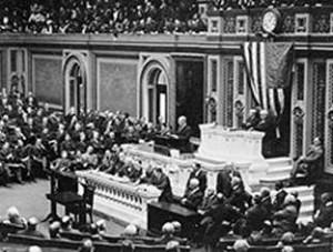 President Wilson představuje Kongresu Spojených států amerických svých 14 bodů