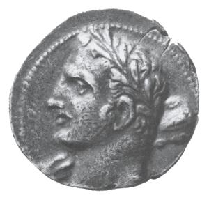 Antická mince s vyobrazením Hannibala (247 - 183 před Kristem), kartáginského stratéga, politika a vojenského velitele