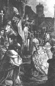 Papež Urban II. vyhlašuje první křížovou výpravu na koncilu v Clermontu