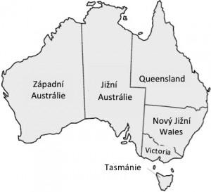 Mapa Austrálie v době vytvoření Australského svazu (1901-1911)